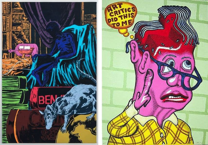 Mark Thomas Gibson - Library (2), 2017, Peter Saul - Self Portrait with Haircut, 2003