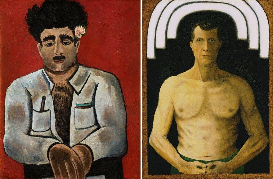 Left Marsden Hartley -Adelard the Drowned, Master of the Phantom Right John Kane - Self-Portrait
