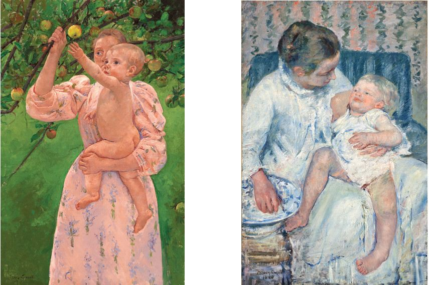Left Mary Cassatt - Child Picking a Fruit Right Mary Cassatt -Maternal Caress