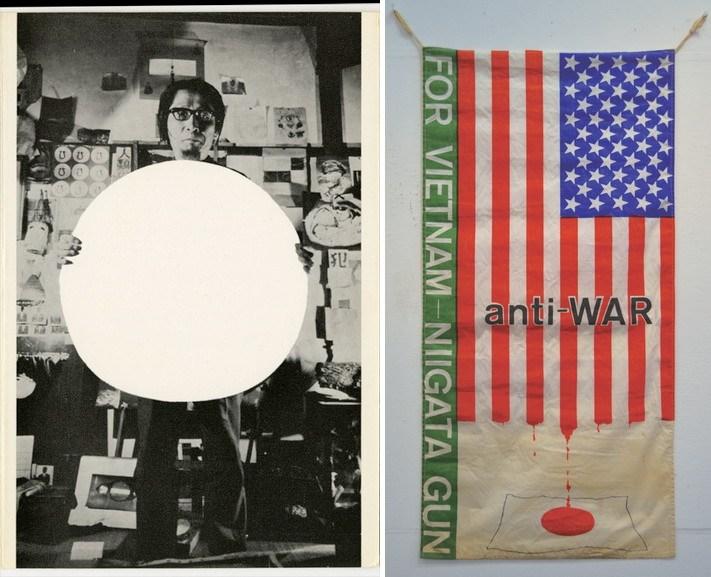 Left Matsuzawa Yutaka - Matsuzawa Yutaka holding White Circle Right Maeyama Tadashi - Antiwar Flag