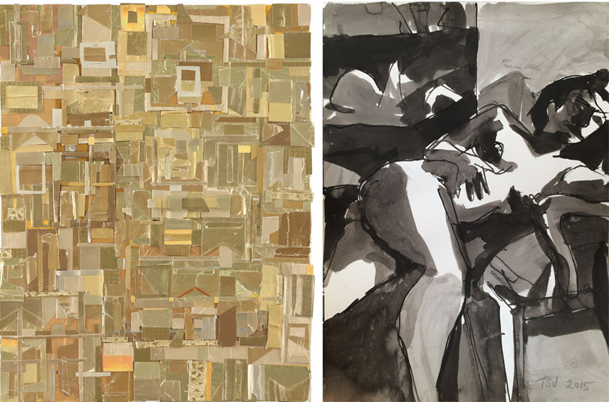 Left: Matt Gonzalez - Retract the word, forthwith, 2015. Found paper collage, 14 x 11 in / Right: Terry St. John - Chair, Model, 2015. Ink on paper, 20 x 15 in