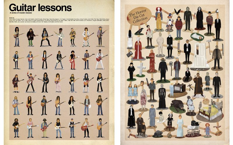 Left Max Dalton - Guitar Lessons, Right Max Dalton - Horror Die Cut Collection