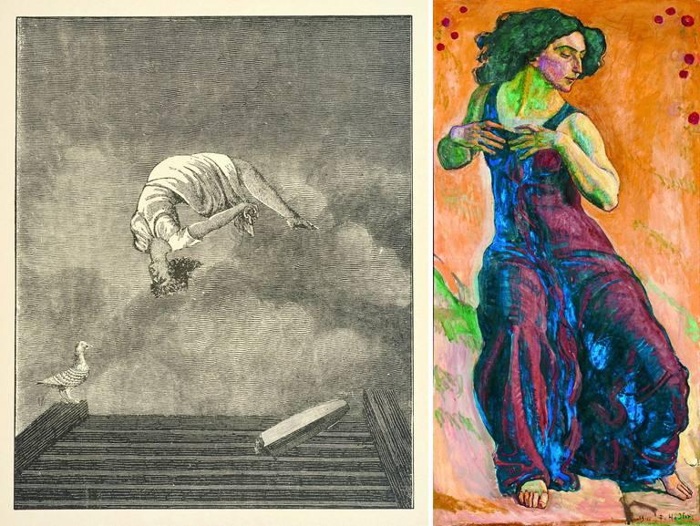 Left Max Ernst - La clé des chants Right Ferdinand Hodler - Delighted woman
