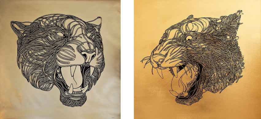 Left: Max G. - Tiger God - 2014 / Right: Max G. - Golden Tiger - 2014 intricate posts