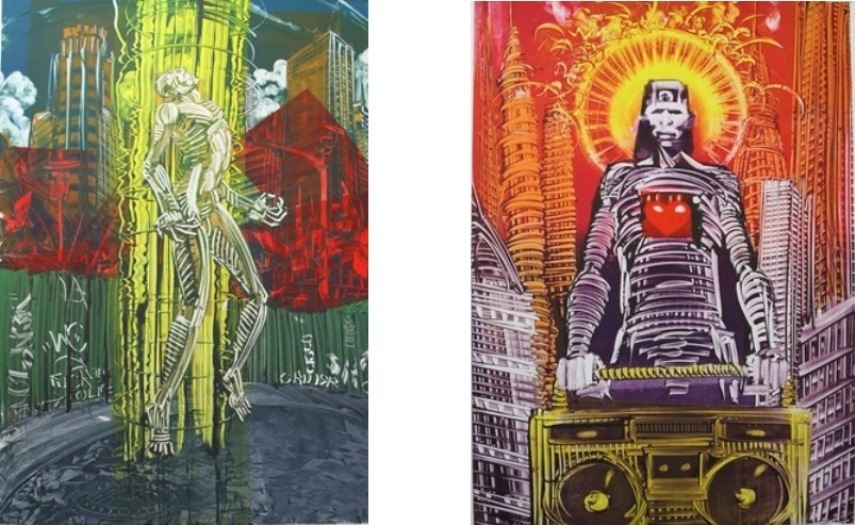 Left:  Mear One - Elevator, 2014 / Right:  Mear One- Radio Raheem Lives (detail), 2009