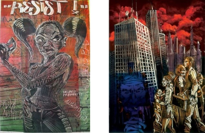 Left: Mear One- Resist (detail), 2004/ Oil Based Ink on Arches Rives Paper, Monotype /  Right: Mear One, Downtown, 2009. Oil Based Ink on Arches Rives Paper, Monotype