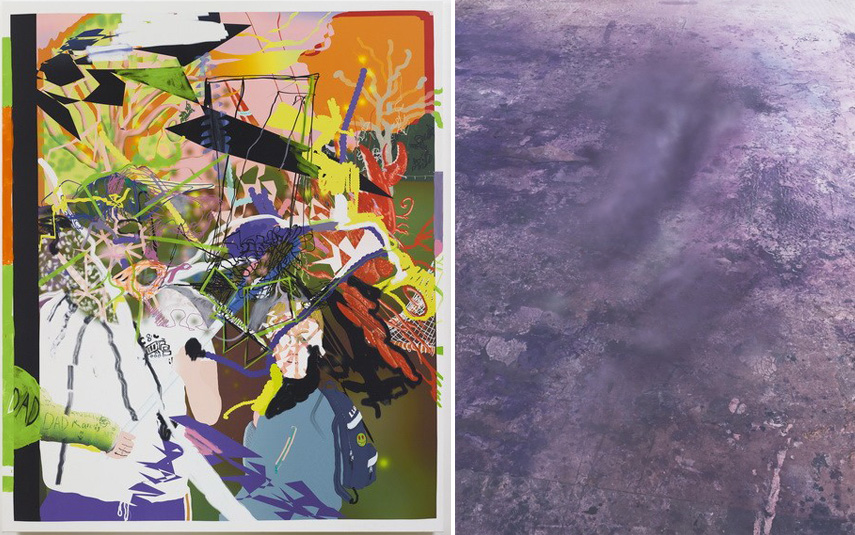 Left Michael-Williams-Technology-After-Painting Right Julian-Schnabel-Ascension-I