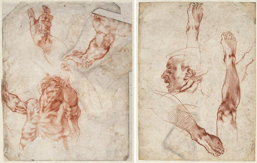 Left Michelangelo Buonarroti - Studies of the upper body Right Michelangelo Buonarroti - Male head in profile