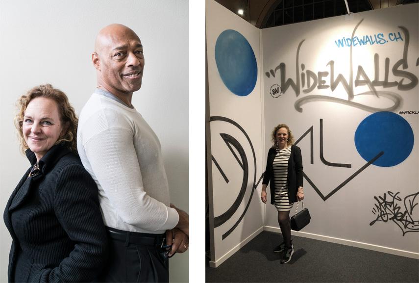 Left Mick La Rock & Blade © HAM : Maija Toivanen Right Mick La Rock in front of Widewalls booth at UAF Paris 2018