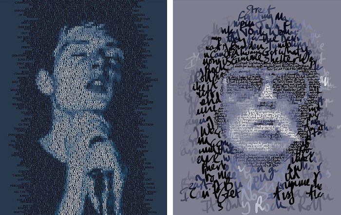 Left Mike Edwards - Ian Curtis, 2015, Right Mike Edwards - Keith Richards, 2014