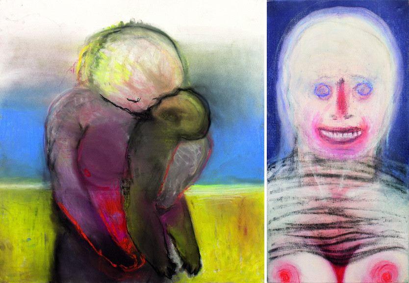Left Miriam Cahn – am strand Right Miriam Cahn – lachen