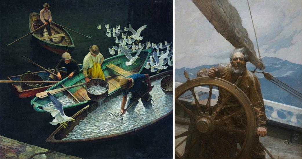 Left N C Wyeth - Dark Harbor Fisherman Right N C Wyeth - Roaring Skipper