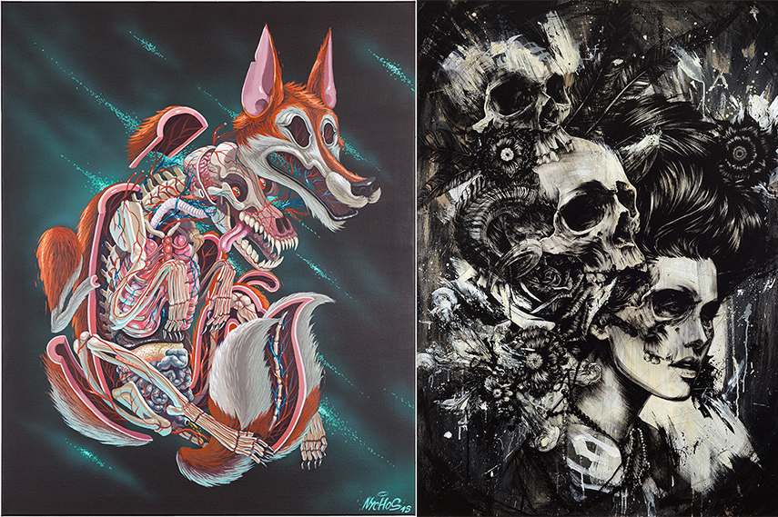 galerie 2013 Left: NYCHOS - Dissection of a Fox, 2015 / Right: Éric Lacan - Born to Die 2, 2015