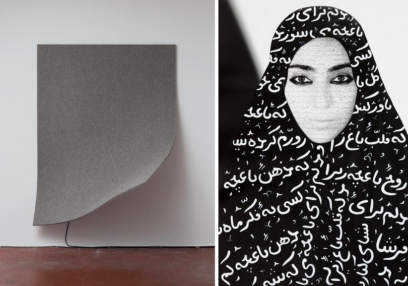 Left Naama Tsabar - Work on Felt (Variation 13) Right Shirin Neshat - Unveiling