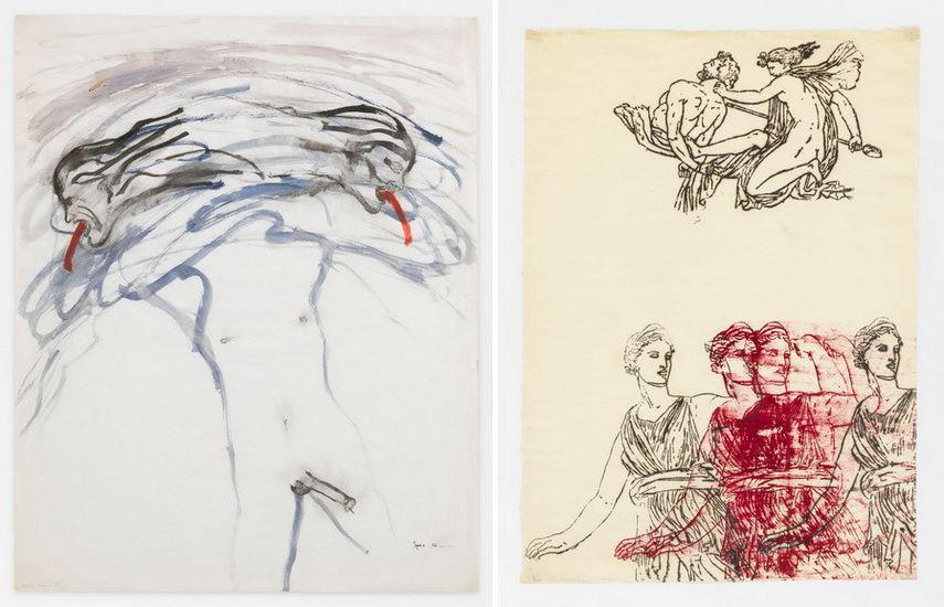Left Nancy Spero - Male Bomb Right Left Nancy Spero - Artemis Goddess and Centaur