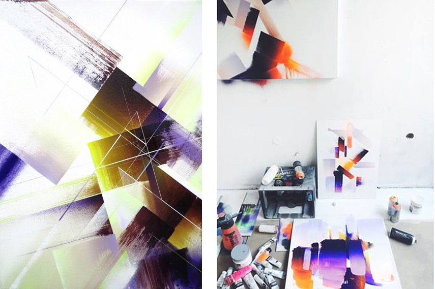 A member of Graffuturism movement, Nawer embellished Krakow with an array of public graffiti, geometric street art and mural pieces painted in his trademark style that combines interior design and graphic design