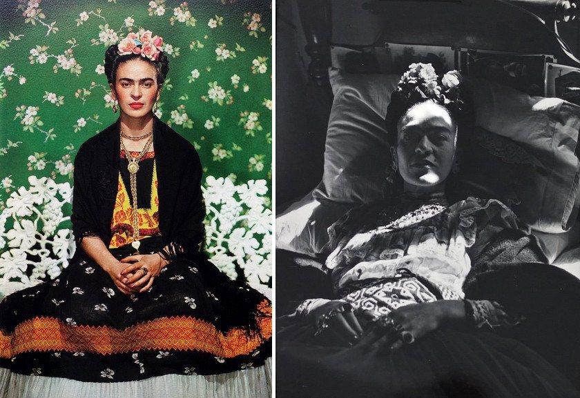 Left Nickolas Muray - Frida on White Bench, New York Right Bernice Kolko - The last portrait of Frida Kahlo