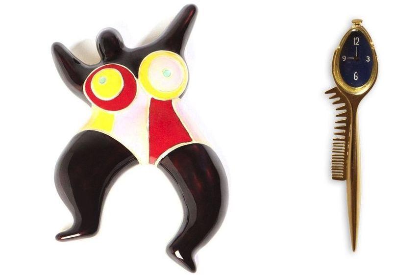 Niki de Saint Phalle, broche Brown Nana, 1973-1974, Salvador Dalí, broche Cuillère avec montre-peigne, 1957