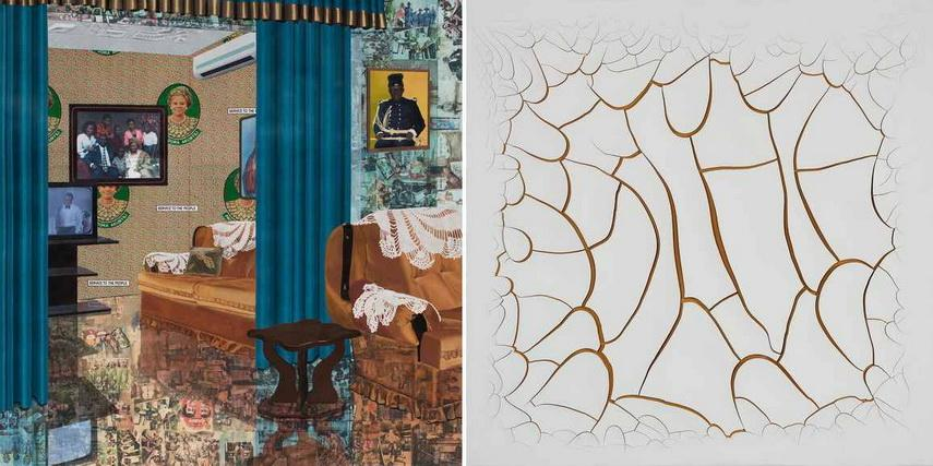 Left Njideka Akunyili Crosby - Home As You See Me Right Adriana Varejao - White Mimbres