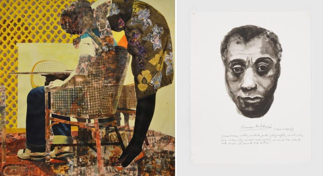 Left Njideka Akunyili Crosby - The Thing Right Marlene Dumas - James Baldwin
