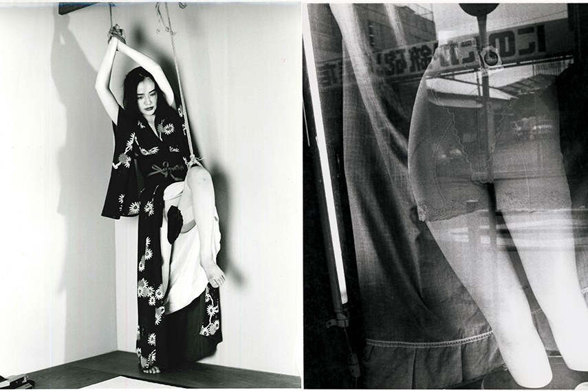 """Left: Nobuyoshi Araki - Marvellous Tales of Black Ink, 1994 / Right: Daido Moriyama - """"Tokyo"""" Meshed World, 1977-78"""