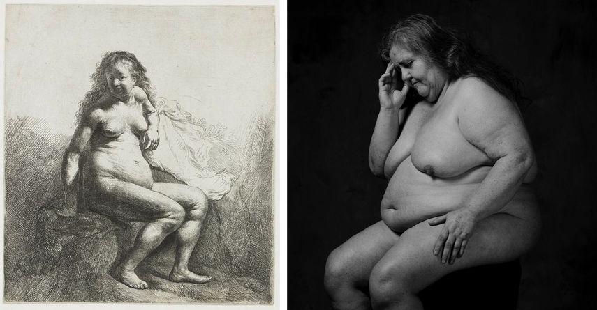 Rembrandt van Rijn - Nude Woman, 1629 - 1633, Erwin Olaf - La Penseuse, 1987