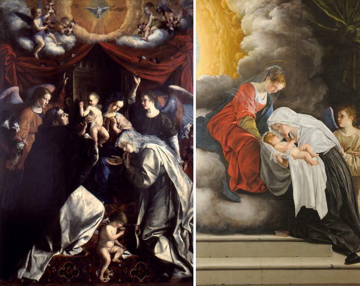 Left Orazio Gentileschi - Our Lady of the Rosary Right Orazio Gentileschi - Madonna with Child and Santa Francesca Roman