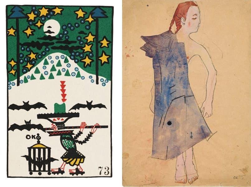 Oskar Kokoschka - Flute Player and Bats (Wiener Werkstätte postcard no. 73), 1907, Oskar Kokoschka - Nude Girl with Draped Coat, 1907