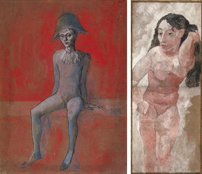 Arlequin assis au fond Rouge, Femme au peigne