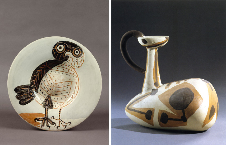 Picasso Ceramic Chouette, 1957 / Picasso Ceramic Cabri couché, 1947-48 - The White Owl Earthenware edition is a Picasso ceramic clay pitcher whose face plate offer a decoration of a madoura pottery vase