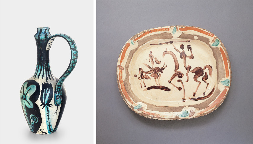 Picasso - Cruche provençal dite Bourrache Serpent, 1952 / Picasso - Corrida, Undated, 1948 - Madoura was a picasso ceramic vase who can be linked to the famous face ceramic edition