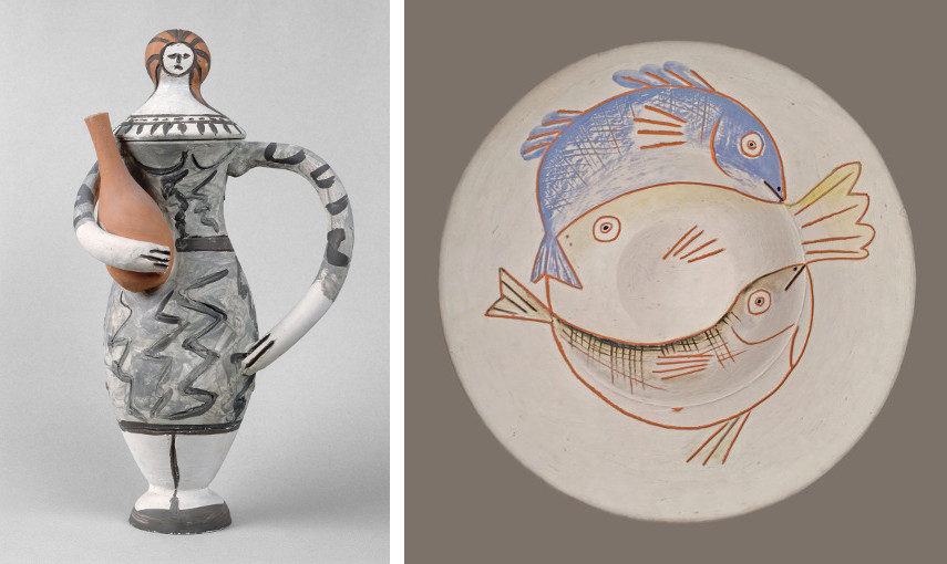 Picasso - Femme à l'amphore, Oct. 1947-48 / Picasso - Trois poissons, 1957 - Picasso Pablo made his ceramic madoura from owl clay, so the face of the vase looks like it belongs in a earthenware edition