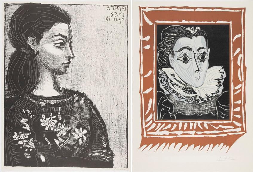 Left Pablo Picasso - Femme au corsage a fleurs Right Pablo Picasso - La Dame a la Collerette