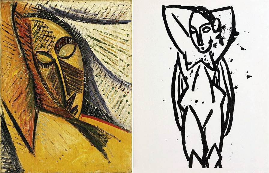 Left Pablo Picasso - Head of a Sleeping Woman Right Pablo Picasso - Nu aux bras leves