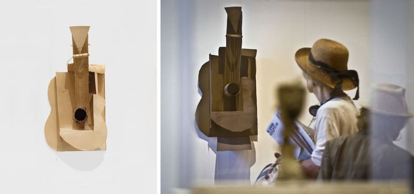 Left Pablo Picasso - Maquette for Guitar, 1912 Right Exhibition of Picasso sculptures in MoMA