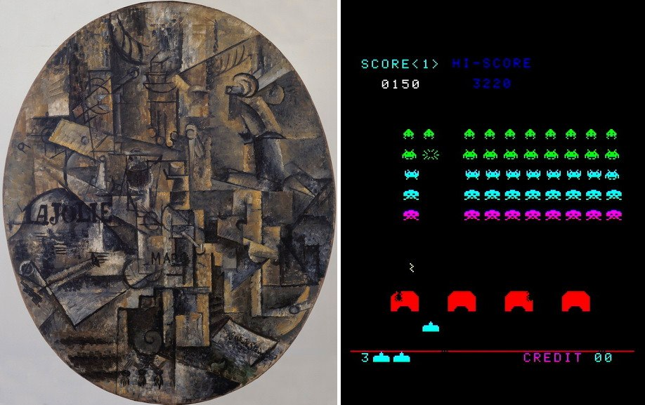 Left Pablo Picasso - The Architect's Table Right Tomohiro Nishikado - Space Invaders