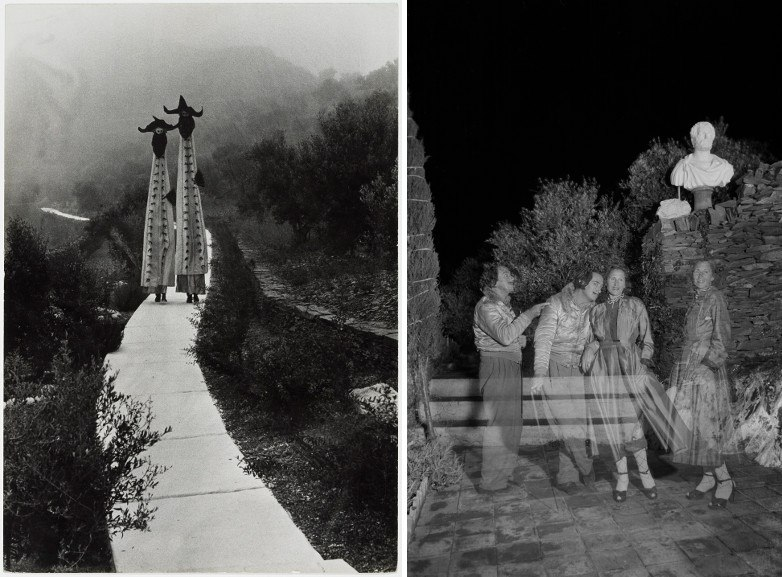 Left Parade of giants in the Portlligat house Right Double-exposure of Dalí and Gala