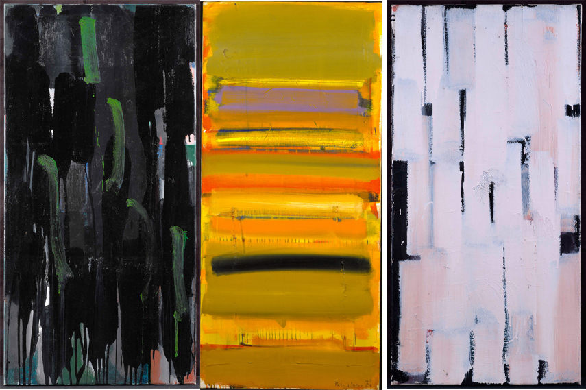 Left- Patrick Heron, Green on Blacks 1956 1956 - Image courtesy of Patrick Heron; Middle- Patrick Heron, Ochre Skies April 1957, 1957 - Image courtesy of Patrick Heron