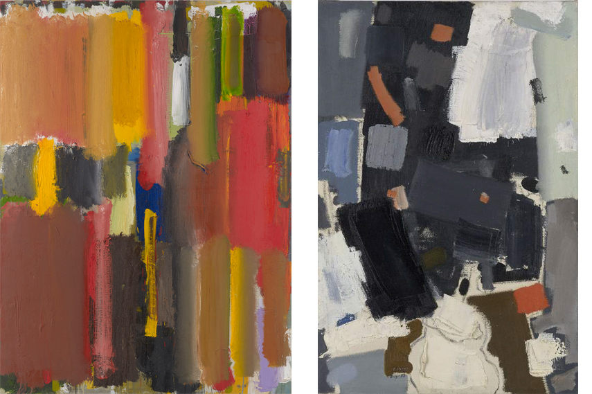 Left- Patrick Heron - Vertical Strokes 1956, 1956; Right- Patrick Heron - Square Leaves -Abstract-- July 1952 1952 - Images courtesy of Waddington Custot Galleries