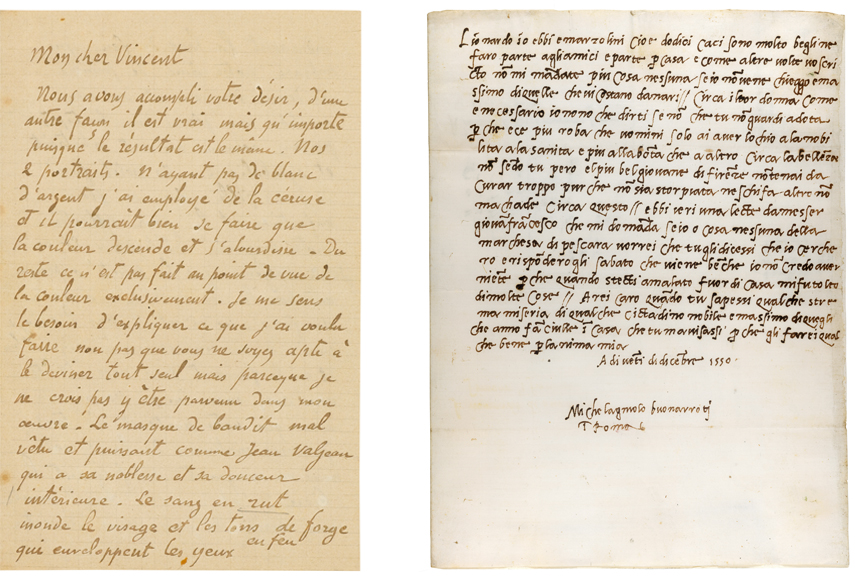 Left Paul Gauguin letter to Vincent van Gogh Right Michelangelo Buonarroti letter to Lionardo di Buonarroto Simoni