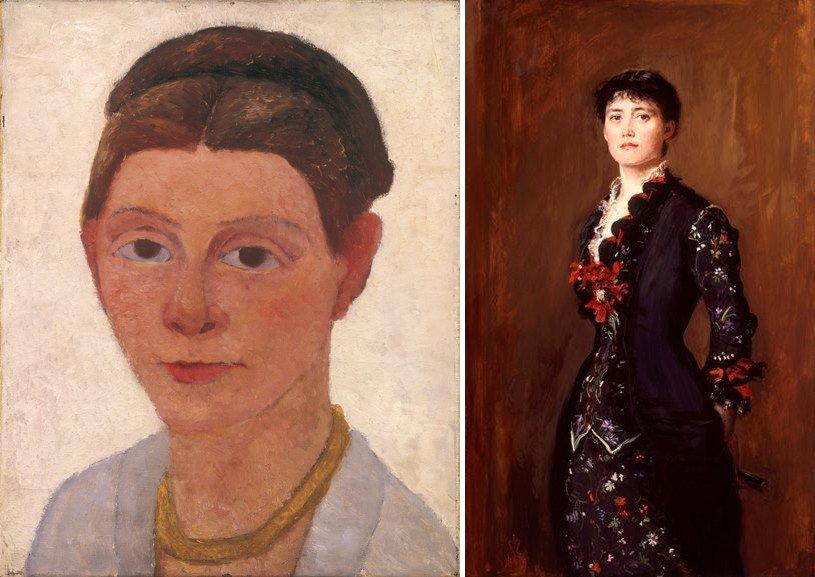 Left Paula Modersohn-Becker - Self-Portrait with Amber Necklace Right Sir John Everett Millais - Louise Jane Jopling