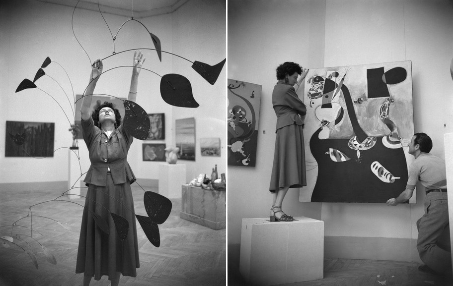 Left Peggy Guggenheim with Arch of petals by Alexander Calder at the Venice Biennale, 1948 Right Peggy Guggenheim during the preparation of the Greek pavilion, where she exhibited her collection, at the XIV Biennial of Venice