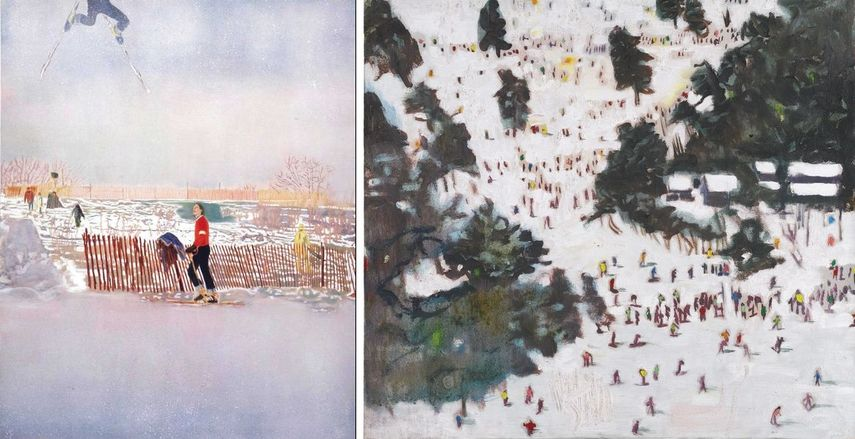 Left: Peter Doig - Olin MK IV, 1995-96, via bombmagazine.org / Right: Peter Doig - Ski Jacket, 1993, via sothebys.com