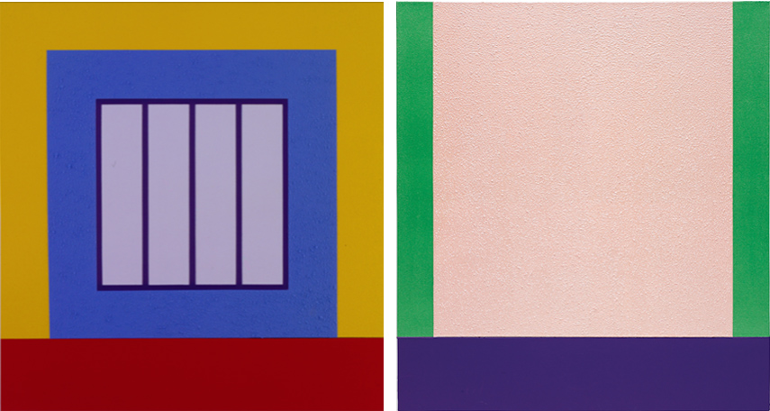 Left Peter Halley, Blue Prison, 2001 Right Peter Halley, Pink Cell, 2000