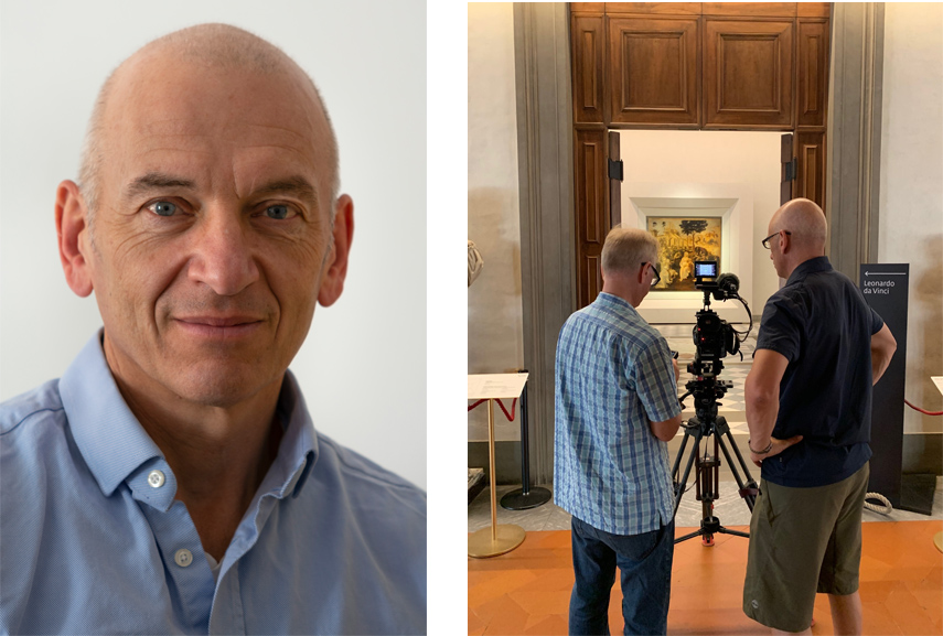 Left Phil Grabsky, Seventh Art Productions Right Filming Leonardo at the Uffizi