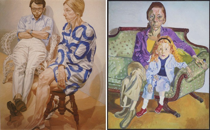 Philip Pearlstein - Richard Pommer and Linda Nochlin, 1968, Alice Neel - Linda Nochlin and Historian College of Died Daisy, 1973