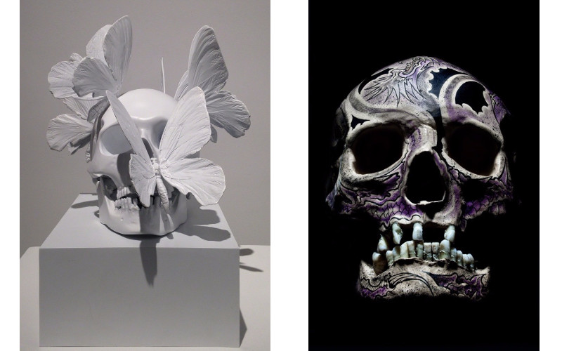 Left Philippe Pasqua - Untitled, Right Philippe Pasqua - Crane Face Tatouage, Violet, 2012