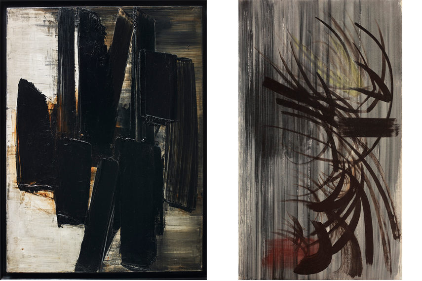 Left- Pierre Soulages - Peinture 81 x 60 cm 3 juin 1957 1957 - Image courtesy of Pierre Soulages; Right- Hans Hartung - T 1955-38 1955 - Image courtesy of Hans Hartung