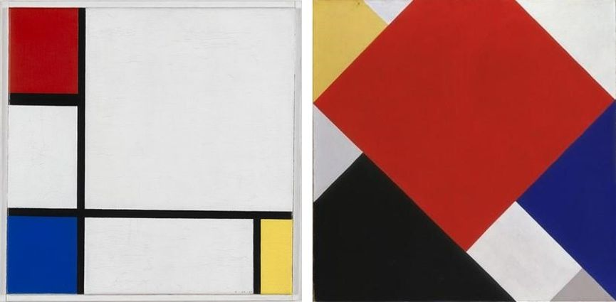 Left Piet Mondriaan - Composition No. IV, with Red, Blue, and Yellow, 1929, coll. Stedelijk Museum Amsterdam Right Theo van Doesburg, Counter-Composition V, 1924, coll. Stedelijk Museum Amsterdam
