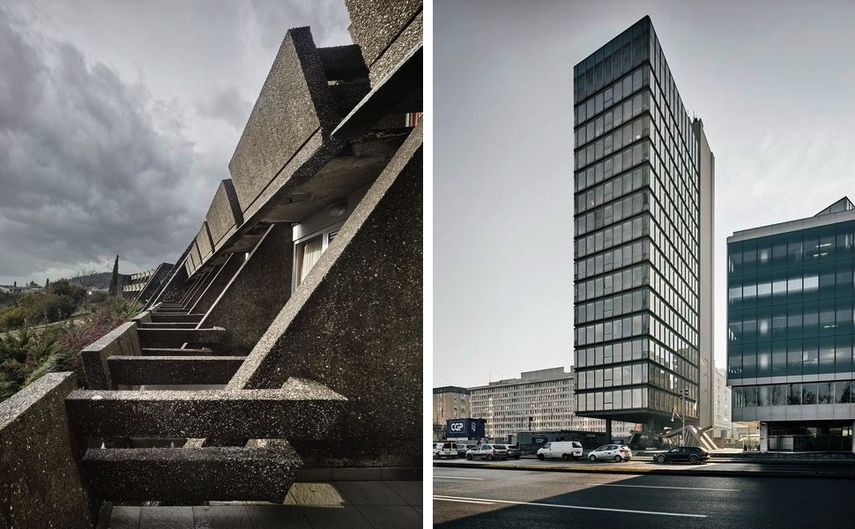 Podgorica Hotel, 1964-67, S2 Office Tower, 1972-78 on view at MoMA in 2018 and 2019